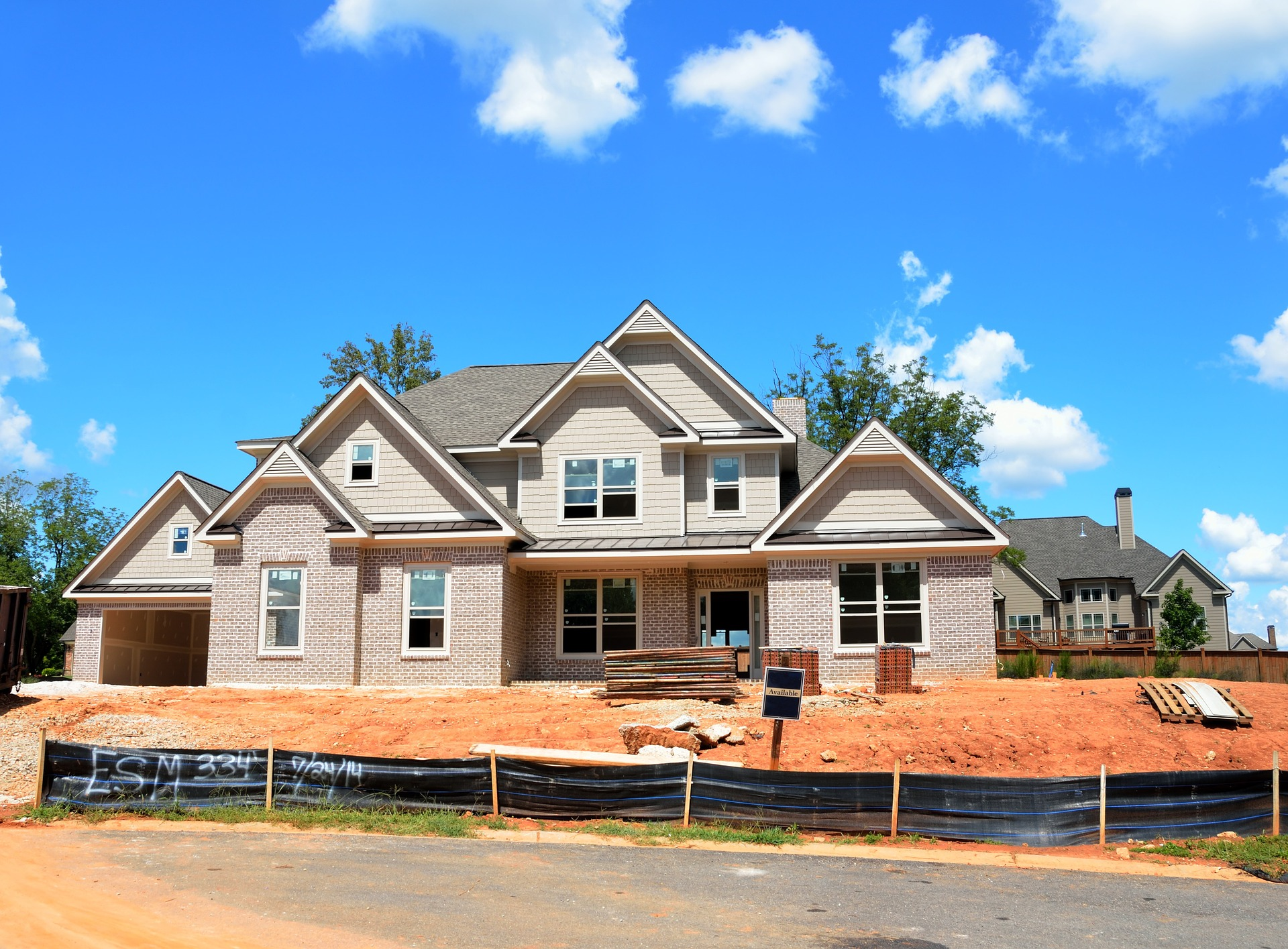 large new construction home in subdivision
