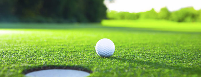 putting green with a golf ball
